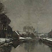 A Belgian Town In Winter Print by Albert Baertsoen