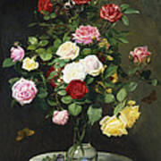 A Bouquet Of Roses In A Glass Vase By Wild Flowers On A Marble Table Print by Otto Didrik Ottesen
