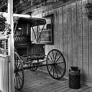 A Buggy On A Porch Bw Print by Mel Steinhauer