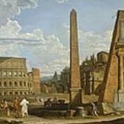 A Capriccio View Of Roman Ruins, 1737 Print by Giovanni Paolo Pannini or Panini