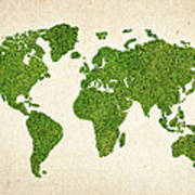 World Grass Map Print by Aged Pixel
