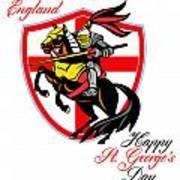 A Day For England Happy St George Day Retro Poster Print by Aloysius Patrimonio