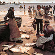A Fish Sale On A Cornish Beach Print by Stanhope Alexander Forbes