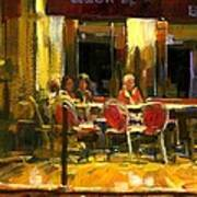 A French Cafe And Friends Print by Michael Swanson