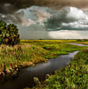 A Glow On The Marsh Print by Christopher Holmes