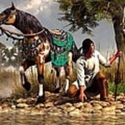 A Hunter And His Horse Print by Daniel Eskridge
