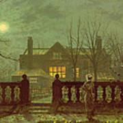 A Lady In A Garden By Moonlight Print by John Atkinson Grimshaw