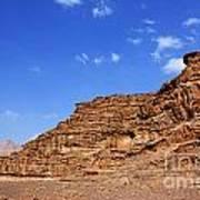 A Landscape Of Rocky Outcrops In The Desert Of Wadi Rum Jordan Print by Robert Preston
