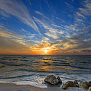A Majestic Sunset At The Port Print by Ron Shoshani