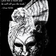 A Picture Of A Venitian Mask Accompanied By An Oscar Wilde Quote Print by Nila Newsom