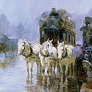 A Rainy Day In Paris Print by Ulpiano Checa y Sanz