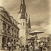 A Sunny Afternoon In Jackson Square Sepia Print by Steve Harrington