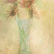 A Vase Of Gerbera Daisies In The Sun Print by Diane Schuster