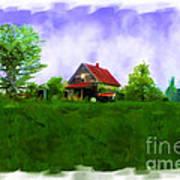Abandond Farm House Digital Paint Print by Debbie Portwood