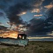 Abandoned Fishing Boat Sunset Landscape Digital Painting Print by Matthew Gibson