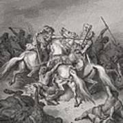 Abishai Saves The Life Of David Print by Gustave Dore