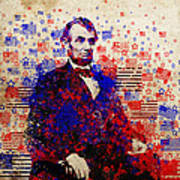 Abraham Lincoln With Flags Print by Bekim Art