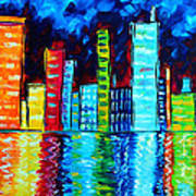 Abstract Art Landscape City Cityscape Textured Painting City Nights II By Madart Print by Megan Duncanson