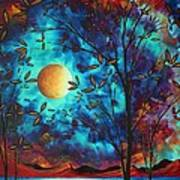 Abstract Art Landscape Tree Blossoms Sea Moon Painting Visionary Delight By Madart Print by Megan Duncanson