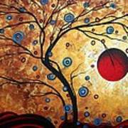 Abstract Art Landscape Tree Metallic Gold Texture Painting Free As The Wind By Madart Print by Megan Duncanson