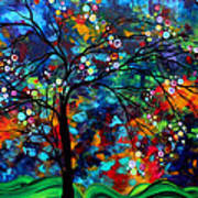 Abstract Art Original Landscape Painting Bold Colorful Design Shimmer In The Sky By Madart Print by Megan Duncanson