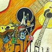 Abstract Guitars Print by Larry Lamb