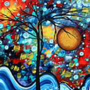 Abstract Landscap Art Original Circle Of Life Painting Sweet Serenity By Madart Print by Megan Duncanson