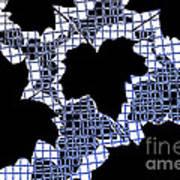 Abstract Leaf Pattern - Black White Blue Print by Natalie Kinnear