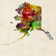 Alaska Watercolor Map Print by Michael Tompsett