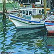 Alaskan Boats In Rippling Water Print by Shalece Elynne