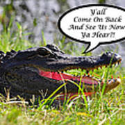 Alligator Yall Come Back Card Print by Al Powell Photography USA
