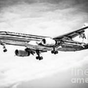 Amercian Airlines 757 Airplane In Black And White Print by Paul Velgos