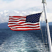 American Flag Blowing In The Wind At Sea Print by Jessica Foster