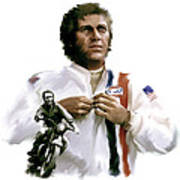 American Icon  Steve Mcqueen Print by Iconic Images Art Gallery David Pucciarelli