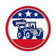 American Mechanical Digger Excavator Retro Print by Aloysius Patrimonio