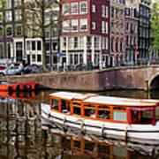 Amsterdam Canal And Houses Print by Artur Bogacki