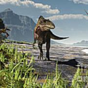 An Acrocanthosaurus Roams An Early Print by Arthur Dorety