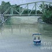 An Evening  Boat Ride On Lachine Canal Print by Reb Frost