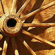 An Old Wagon Wheel In Carillos New Mexico Print by Jeff Swan