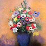 Anemones And Lilac In A Blue Vase Print by Odilon Redon