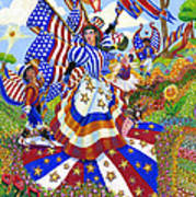 Angel Of American Patriotism Print by Jacquelin Vanderwood