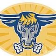 Angry Texas Longhorn Bull Head Front Print by Aloysius Patrimonio