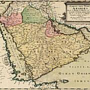 Antique Map Of Saudi Arabia And The Arabian Peninsula By Nicolas Sanson - 1654 Print by Blue Monocle