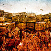 Apple Crates And Crows Print by Bob Orsillo