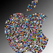 Apple Mosaic On Gradient Print by Yury Malkov