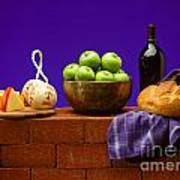 Apples Bread And Cheese Print by Craig Lovell
