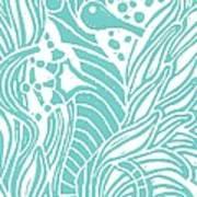 Aqua Seahorse Print by Stephanie Troxell