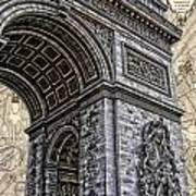 Arc De Triomphe - French Map Of Paris Print by Lee Dos Santos