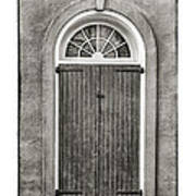 Arched Door In French Quarter In Black And White Print by Brenda Bryant