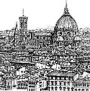 Architecture Of Florence Skyline In Ink  Print by Adendorff Design